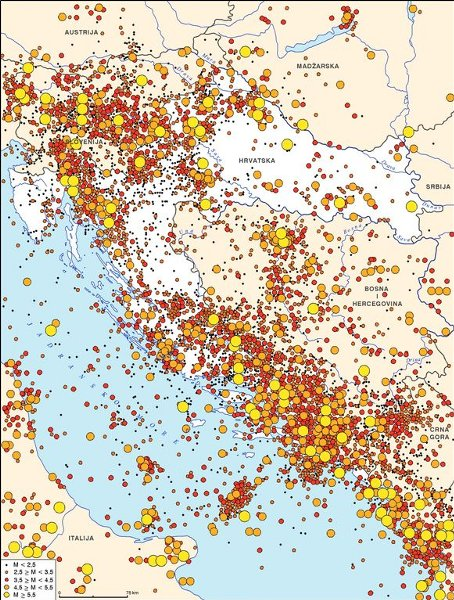 Epicentri potresa u Hrvatskoj